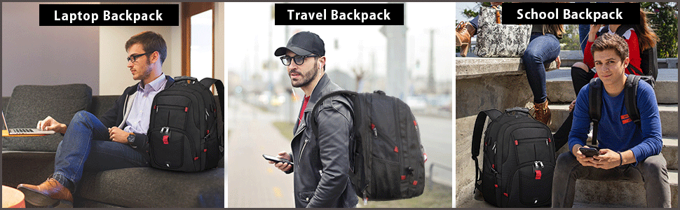 NUBILY Laptop Backpack 17.3 Inch Waterproof Large TSA Travel Backpack Multipurpose
