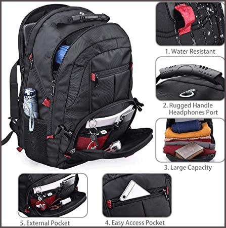 NUBILY Laptop Backpack 17.3 Inch Waterproof Large TSA Travel Backpack Capacity