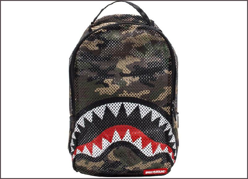 Sprayground Backpacks Camo Mesh Shark