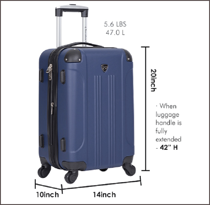Travelers club luggage Dimensions & weight