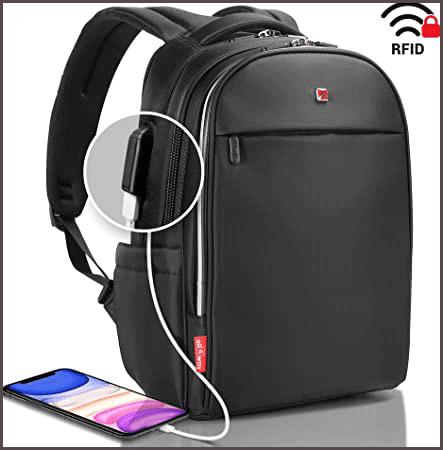 Waterproof Laptop Backpack Black RFID Blocking