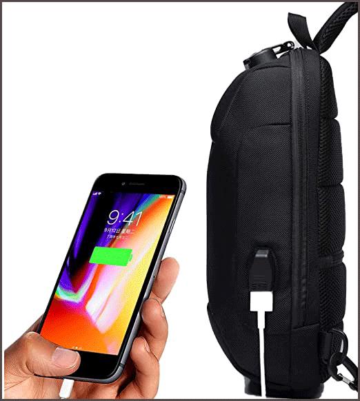 Wisfruit Anti Theft Sling waterproof backpack USB charging port