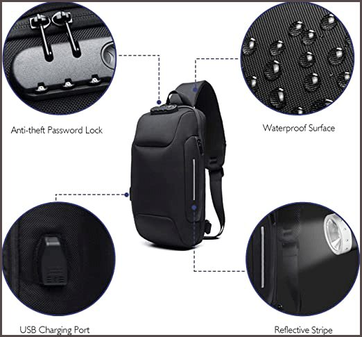 Wisfruit Anti Theft Sling waterproof backpack safety design